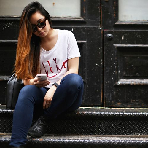 @alyssalenore wearing our Rouge no 5 Tee-shirt. http://streetpeopleatelier.com/t-shirts