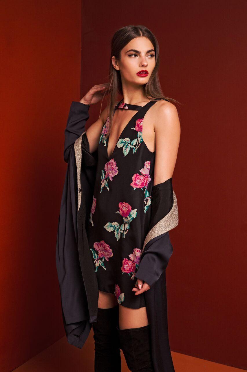 Lotus Dress - Black Peony
