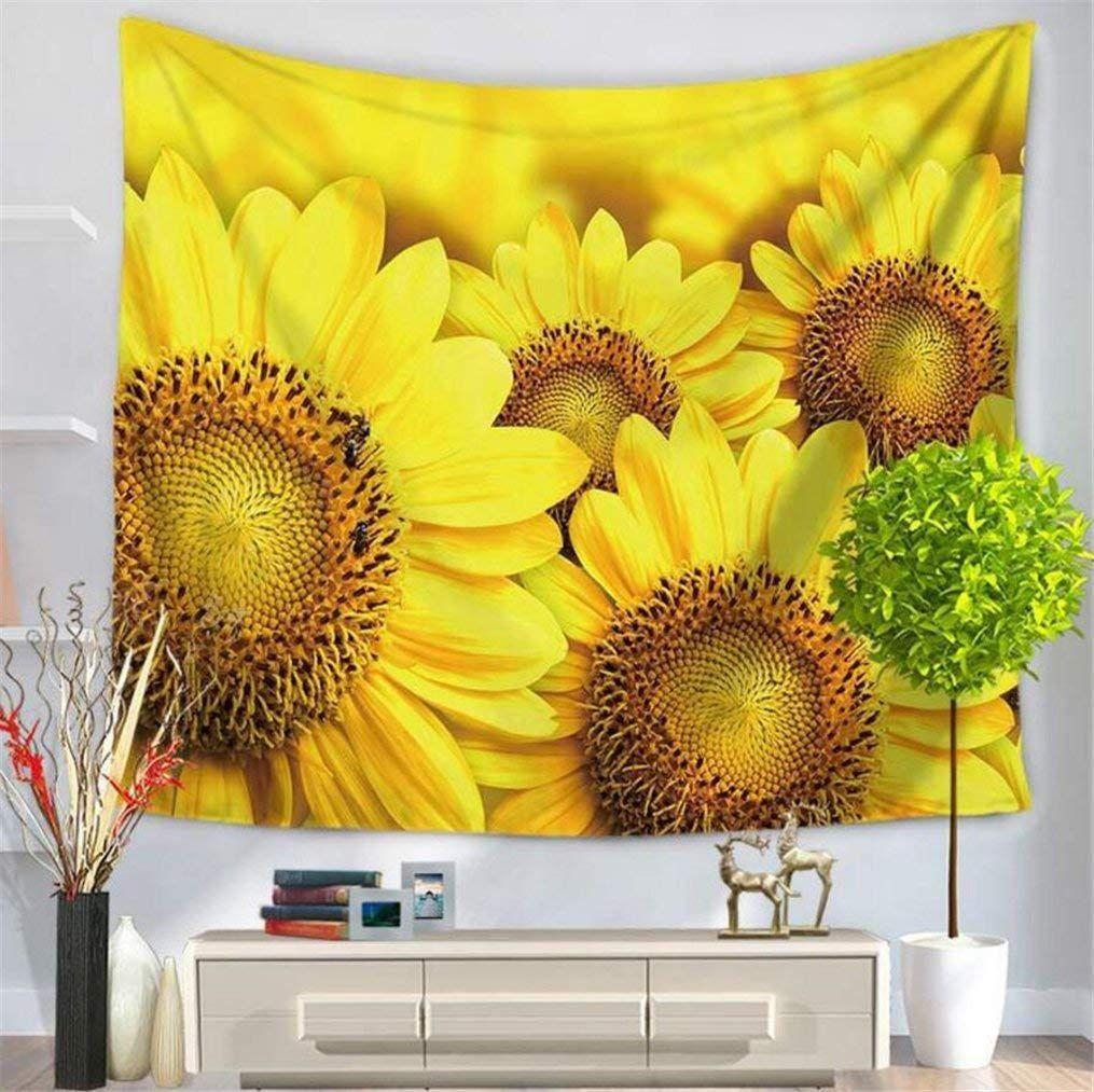 Amazon.com: Leofanger Flower Tapestry Wall Hanging, Sunflower ...