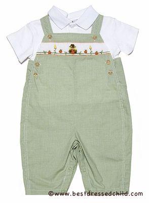 b1b9b356f Petit Ami Baby Boys Green Check Smocked Pumpkins Longall