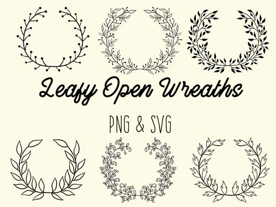 Photo of LEAFY FLORAL WREATHS, hand-drawn wreaths, doodle clipart, rustic, drawn wreaths, png, svg, vector wr