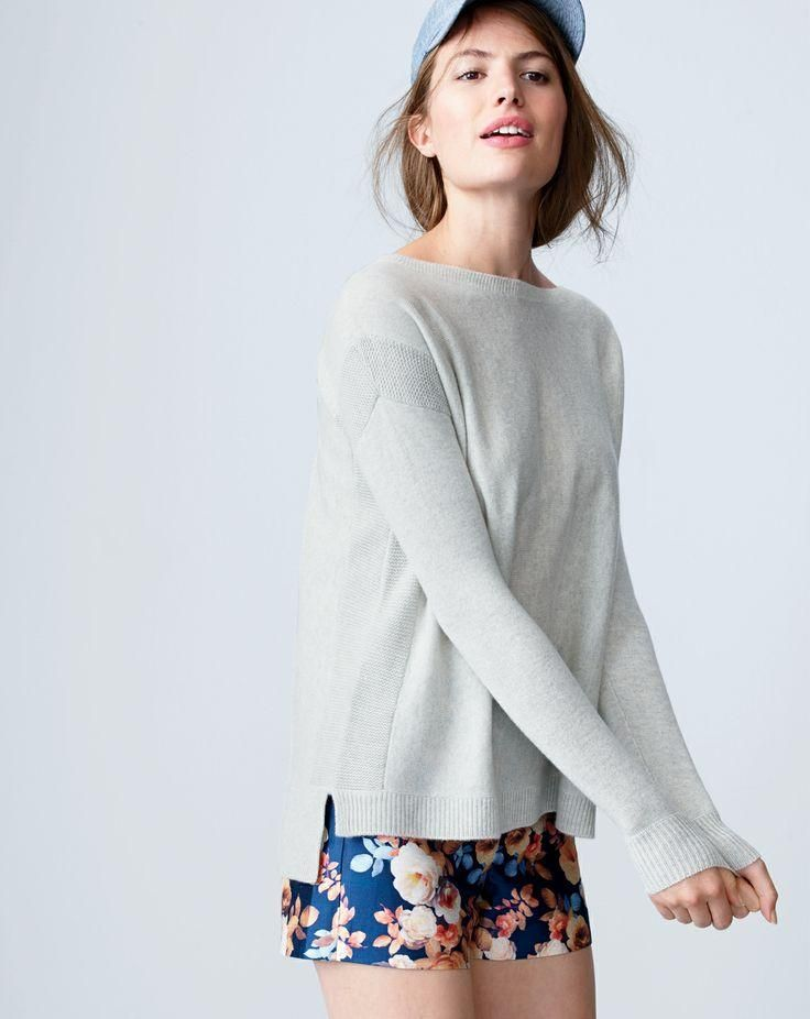 3b83e7de576e8 J.Crew Collection textured frame cashmere sweater worn with the Collection  antique floral short and the chambray baseball cap. Love what you see