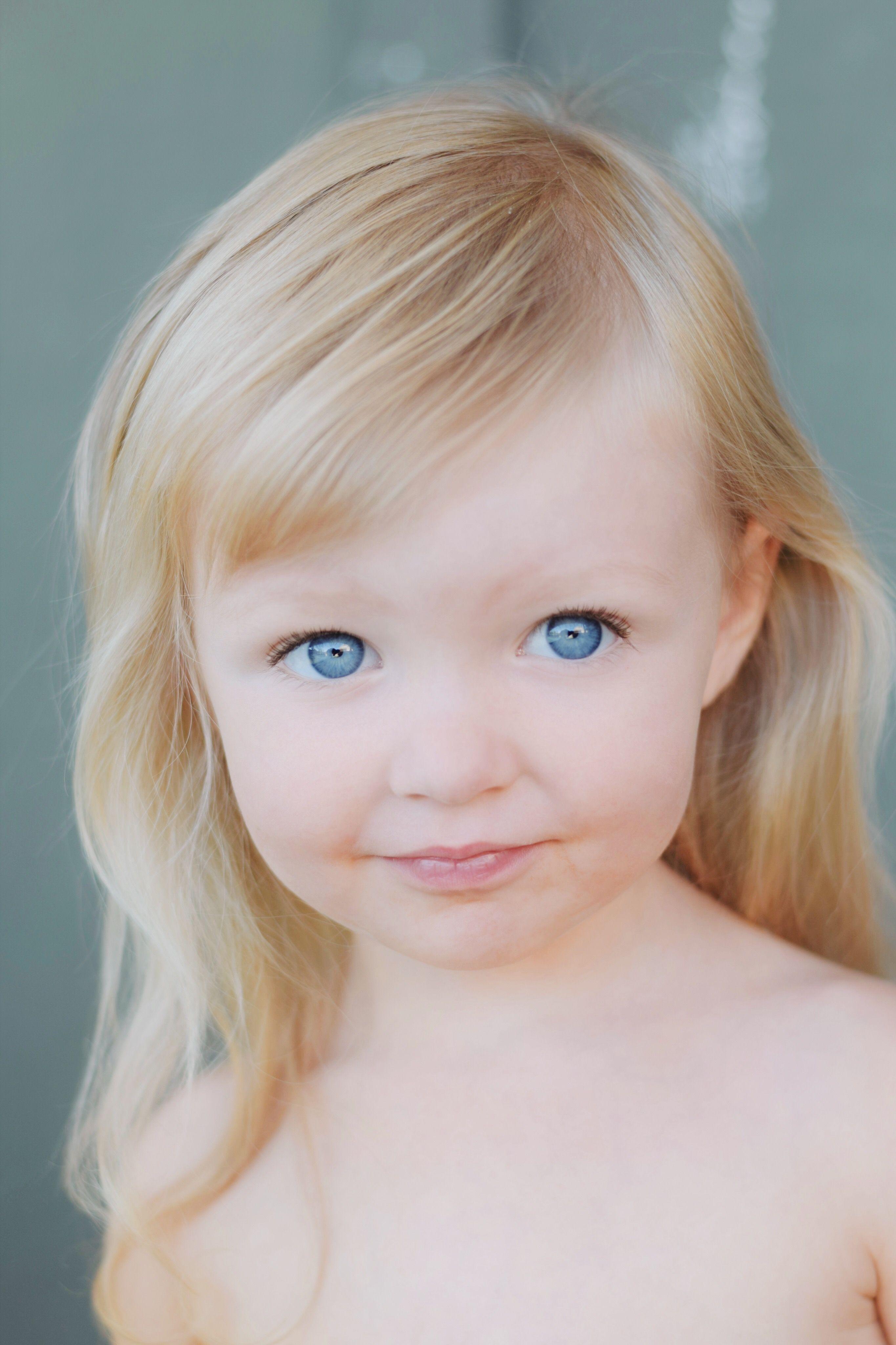 Little Girl Blue Eyes Blonde Hair Toddler Girl Toddler