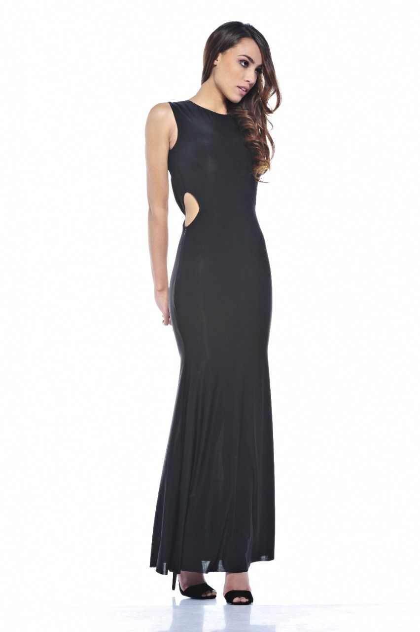 Long dresses to wear to a wedding  Giselle Black Cut Out Maxi  sassy dresses  Maxi Dresses