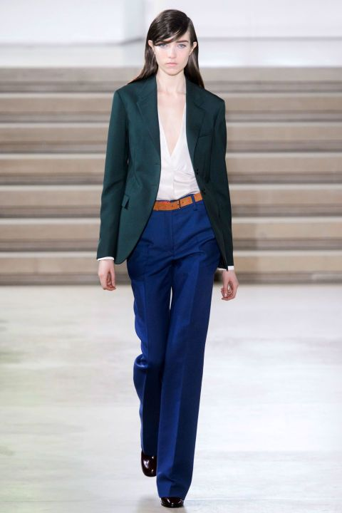 """If there was a change in direction—let's say by half a degree—for Paglialunga, it was in a subtle shift towards more relaxed separates. A pair of pants that verged on jeans, and worn with a soft blouse and loden blazer, bordered on """"off duty"""". Still polished, of course."""