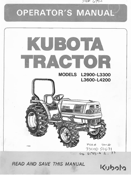 Kubota L2900 L3300 L3600 L4200 Tractor Operator Owners Manual Pdf Download Owners Manuals Manual Repair Manuals