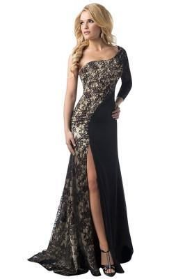 5c407968a1 Stunning One Shoulder Split Lace Black Prom Dresses Specifications Decoration  Lace Sleeve Length One-sleeved Length Floor length Size S