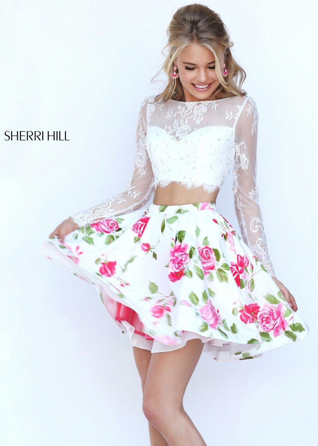 Sherri hill fancy long sleeve two piece dress two piece
