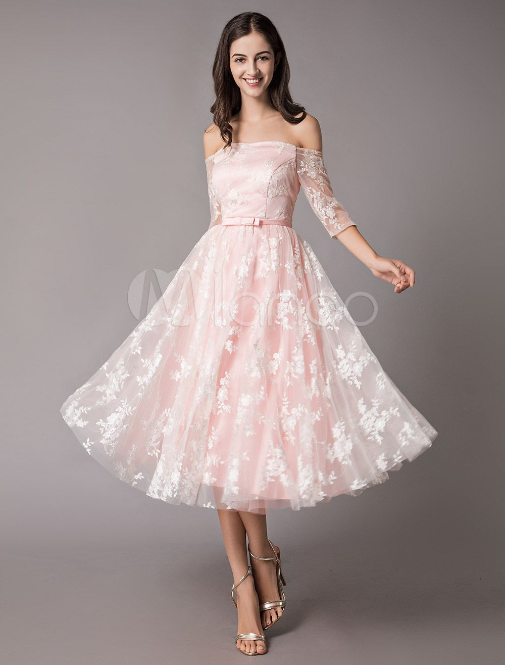 397f4934956 Lace Cocktail Dresses Off The Shoulder Soft Pink Half Sleeve Short Prom  Dress