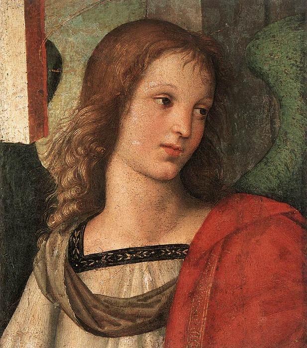 Raffaello Sanzio: Raphael (Raffaello Sanzio Da Urbino) - Angel (fragment of the Baronci altarpiece).  Ang...