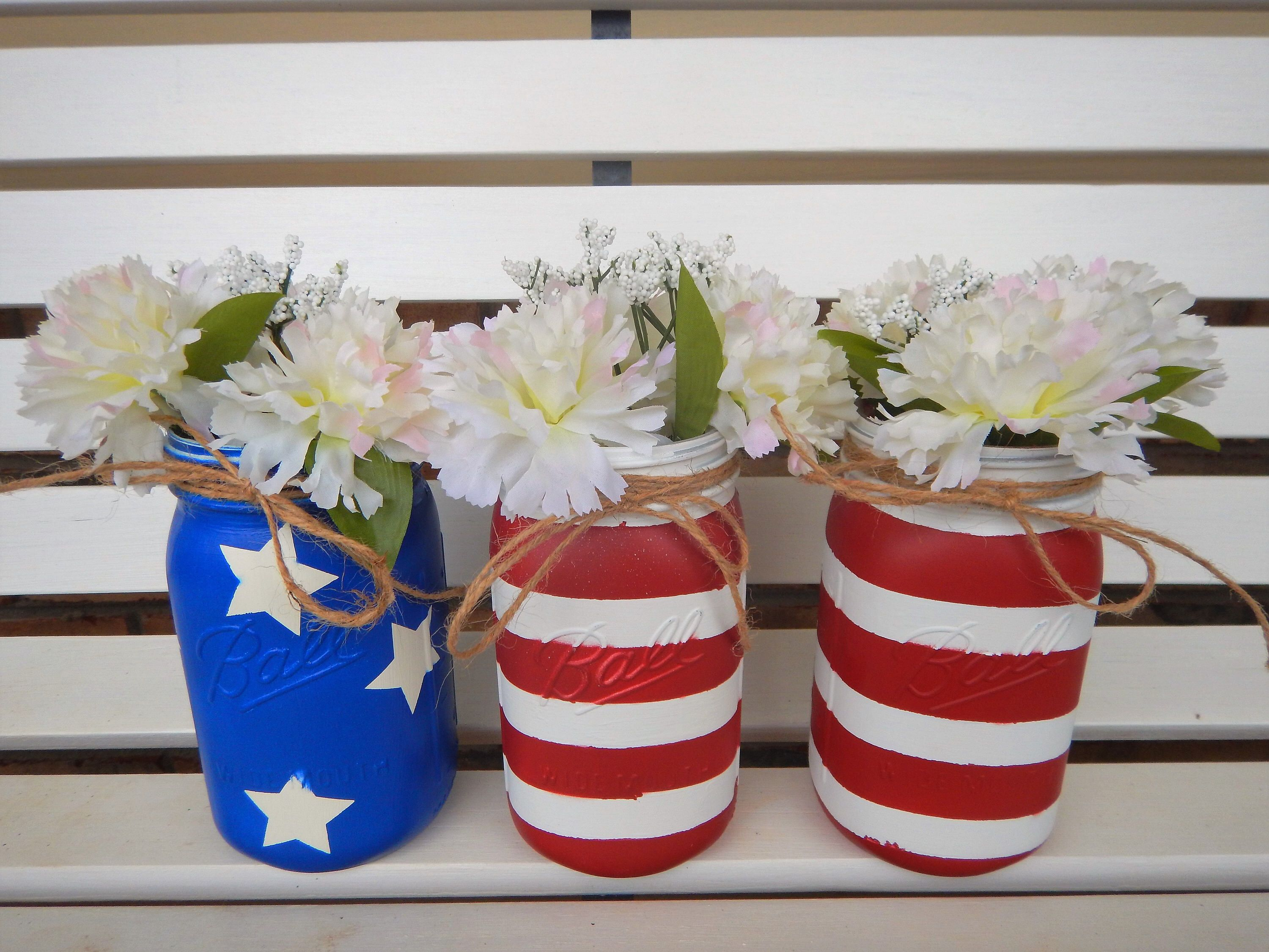 Fourth of July Mason Jars July 4th