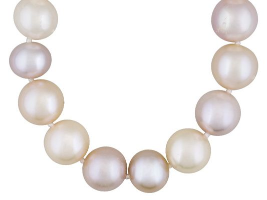 9-10mm Pink, Peach and Purple Cultured Freshwater Pearl 20 Inch Sterli