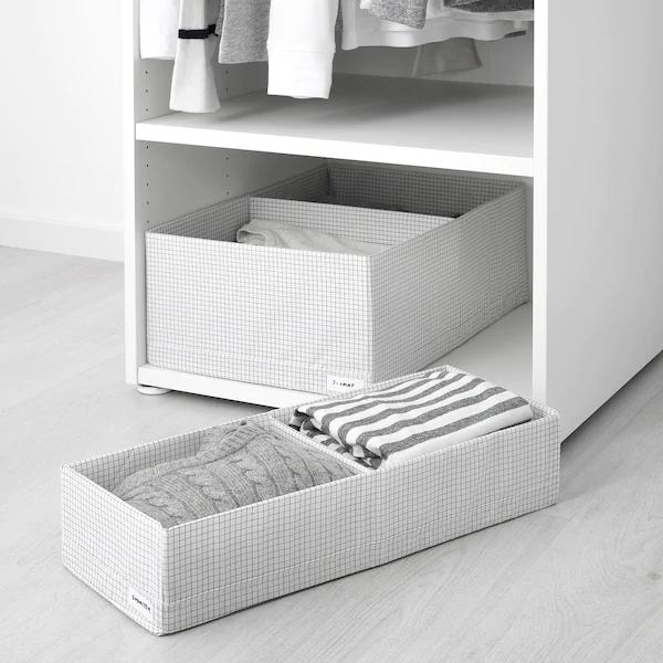 Stuk Boite A Compartiments Blanc Gris Ikea Rangement Ikea Boite De Rangement