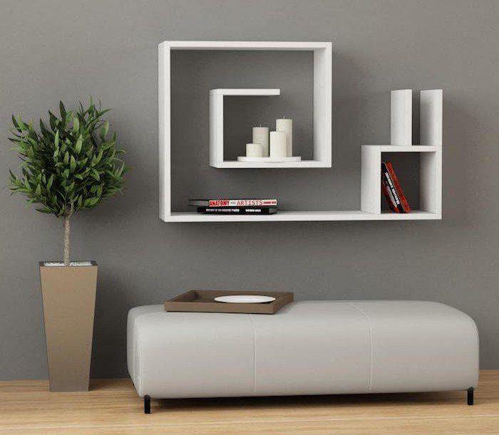 etagere blanche murale en forme d\u0027escargot original pour deco salon