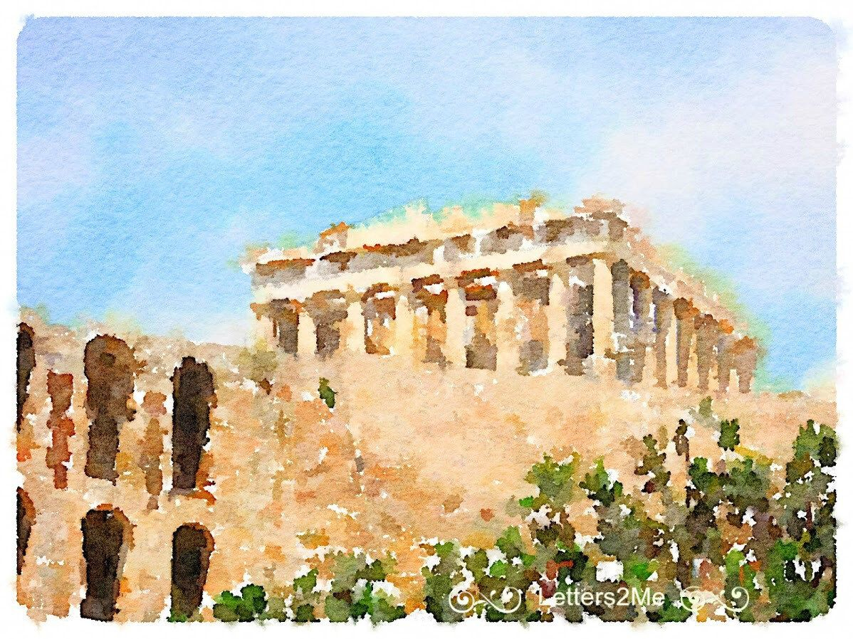 History of watercolor art - Acropolis Of Athens Greece Ancient Wonder Of The World Watercolor Painting