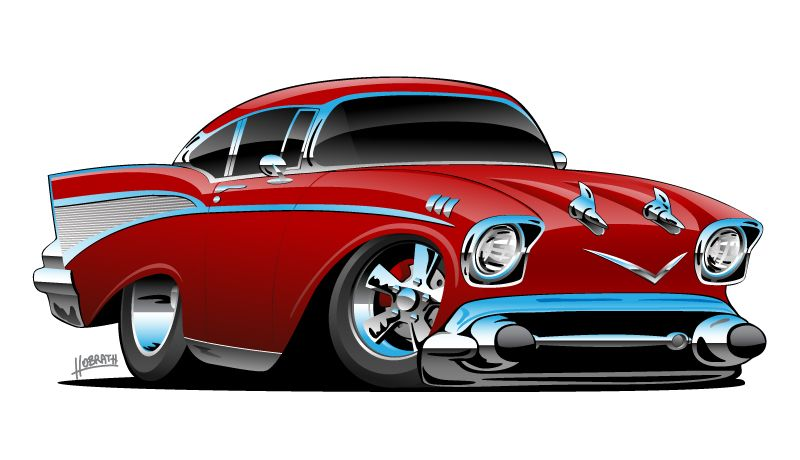 Old School 57 Hotrod Low And Mean Lots Of Chrome Candy Apple