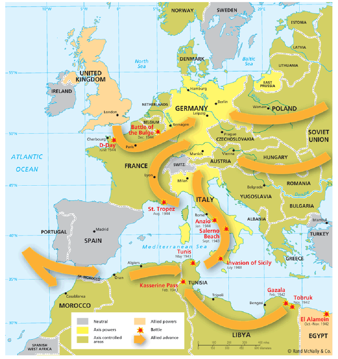 World war ii 1941 1945 european theater wwii maps pinterest extra map of the european theater world war ii the arrows indicate the allied advances sciox Images