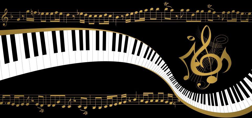 Fundo Preto Piano E Notas De Ouro Música Notas Musica Diseños De Fondo Imágenes De Fondo
