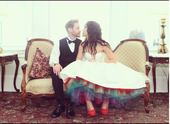 Rainbow Petticoat Under Wedding Dress