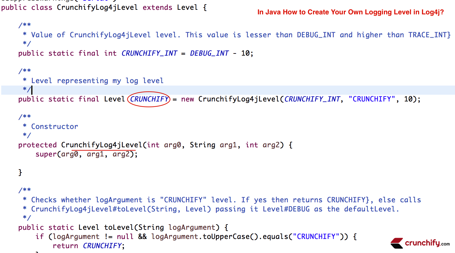 In Java How to Create your own Logging Level using Log4j