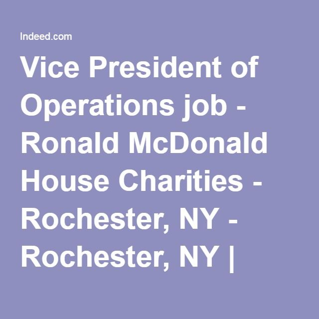 Vice President Of Operations Job  Ronald Mcdonald House Charities
