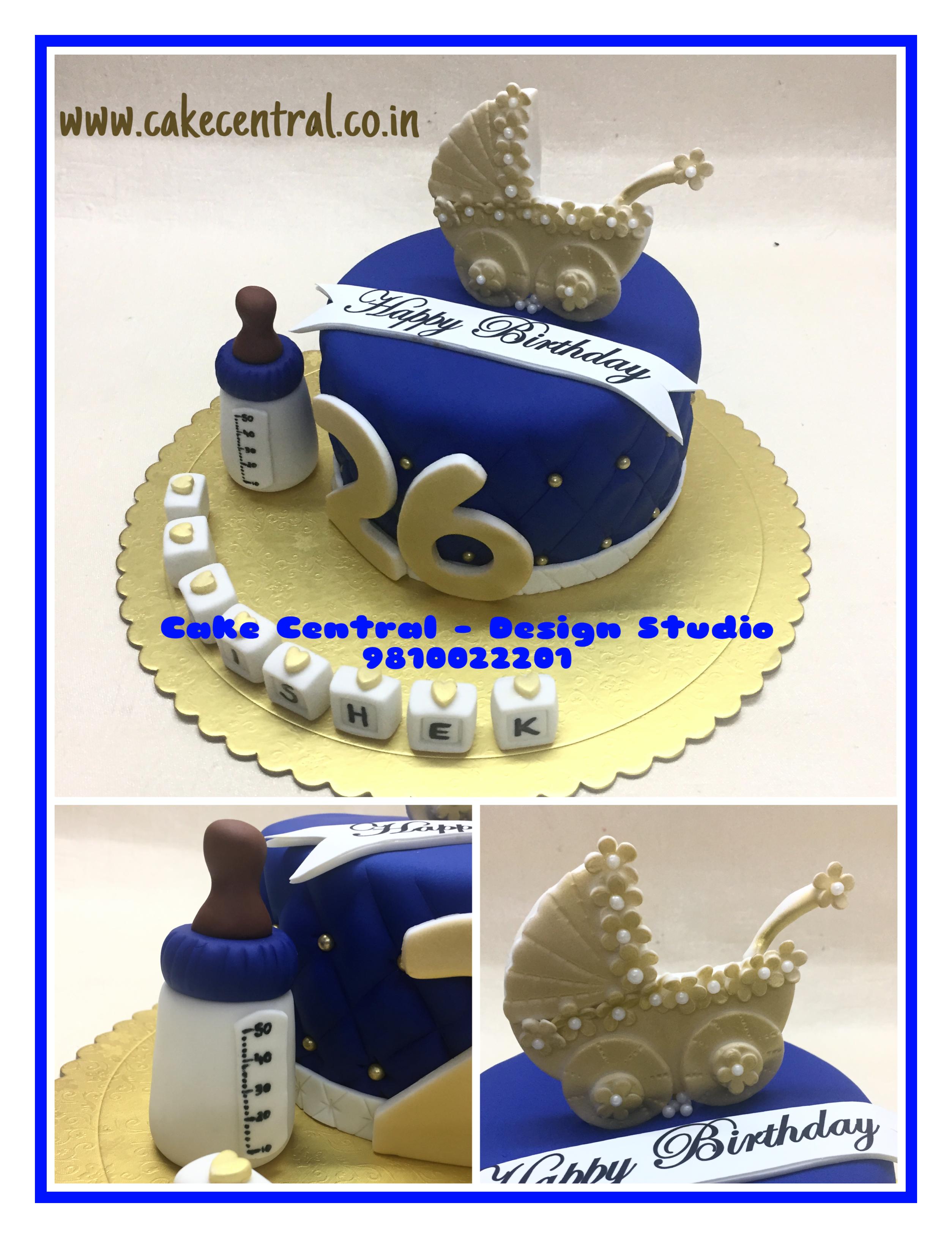 Cute Golden Blue Designer Birthday Cakes For Boyfriend Or Husband