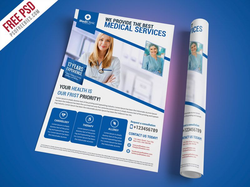 Cool Medical Services Flyer Template Free PSD Download Medical - Healthcare brochure templates free download