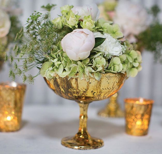Desiray gold vintage mercury glass pedestal bowl