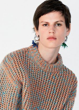 Celine Wool Crew Neck Sweater and Toy Dinosaur Earrings