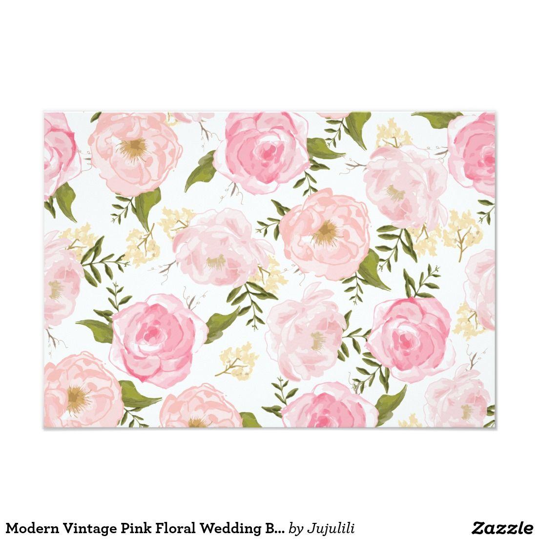Modern Vintage Pink Floral Wedding Blank Card   Floral wedding ...