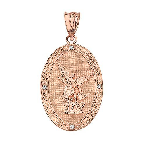 This stunning 14k rose gold double sided medallion diamond charm this stunning 14k rose gold double sided medallion diamond charm pendant depicts st michael the archangel slaying the devil one of the most recog aloadofball Gallery