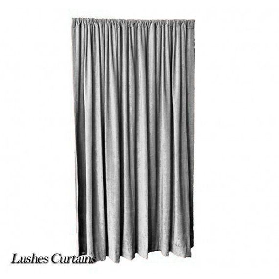 Gray Velvet Curtain Panel 144 H Extra Long Fr By Lushescurtains