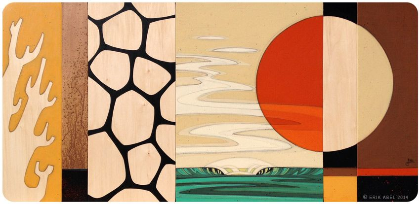 """""""Sol Slice"""" © Erik Abel 2014<br>48""""x23""""x0.5"""" Acrylic, marker, colored pencil on wood panels. Black Edges. Floated 1"""" off wall.<br>Wyland Gallery Haleiwa, Inquire for pricing"""