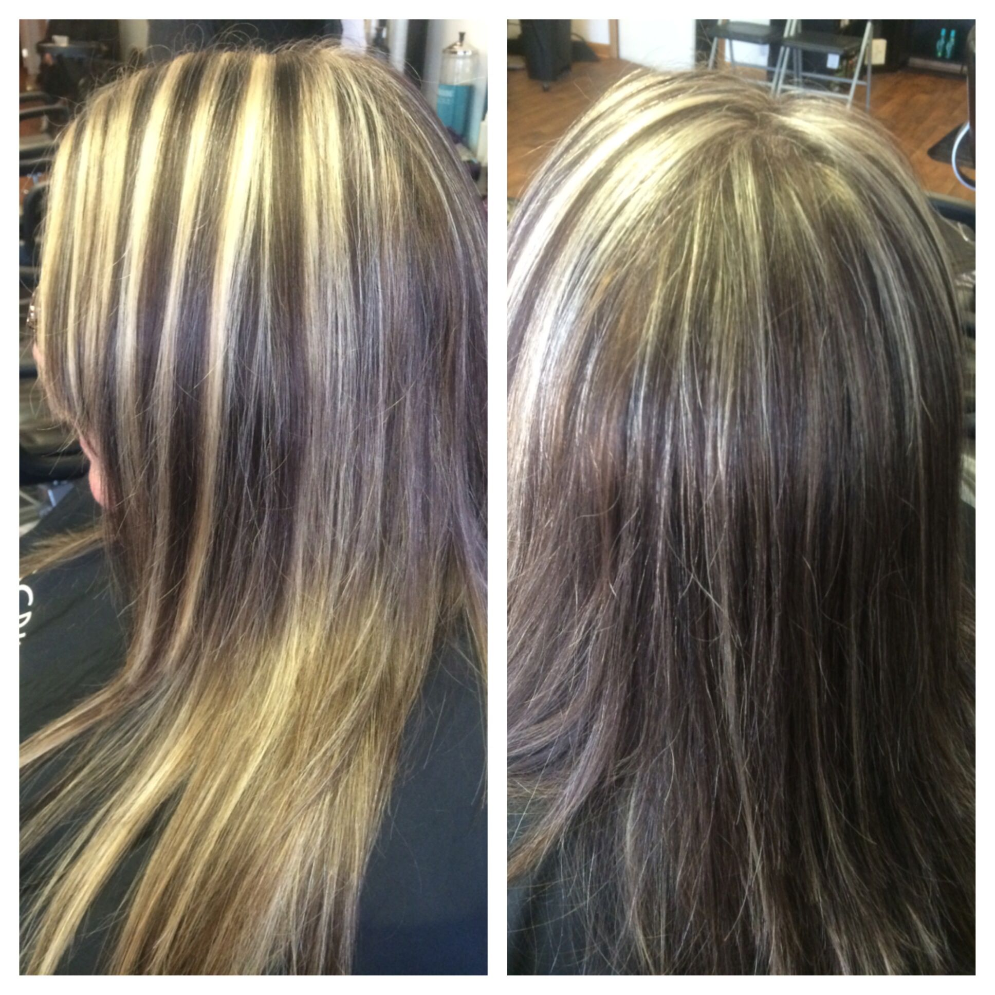 Dark brown and chunky on top blonde full head highlight by tabitha