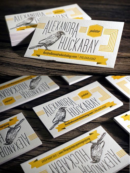 Beautifully Illustrated Two Colour Letterpress Business Card For