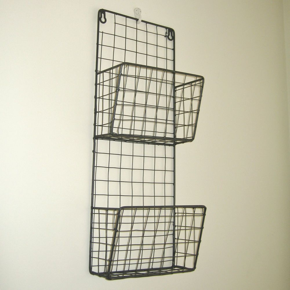 Vintage Industrial Style Metal Wire Magazine Letter Rack Wall ...