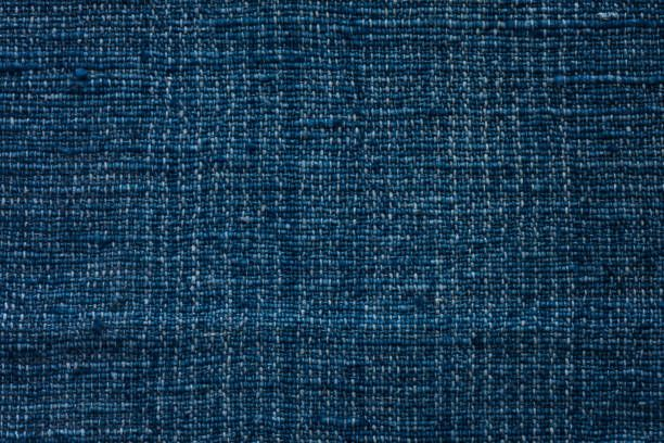 closeup dark blue yarn textile background and textured