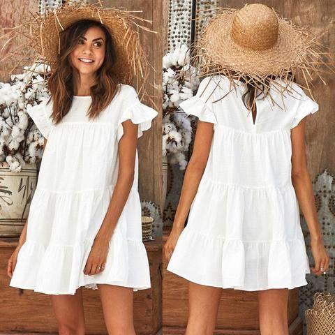 d8ce949799 Fashion Casual Womens Ladies Dresses Summer Short Sleeve Mini Tank Dress  Sweet Loose Beach Sundress Red