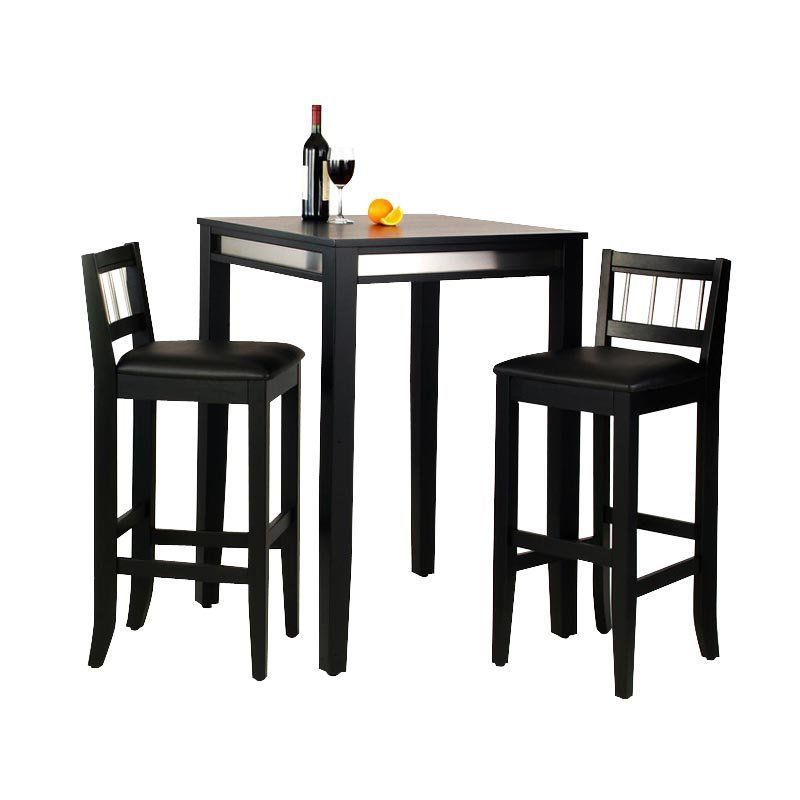 Home Styles Manhattan Black Pub Table Set With Stainless Steel A 3 Pc 2 Stools 5123 358