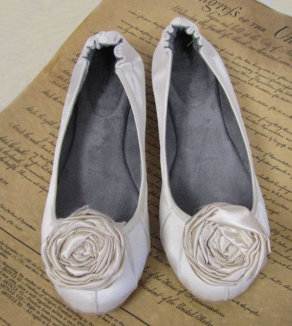 Ivory Ballet Slippers With Hand Made Silk Roses Sara