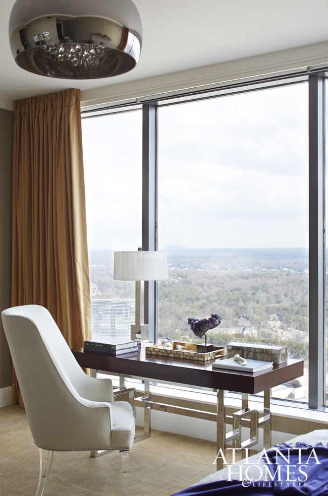 The Master Bedroom Features A Writing Desk With Enviable Sky High Views