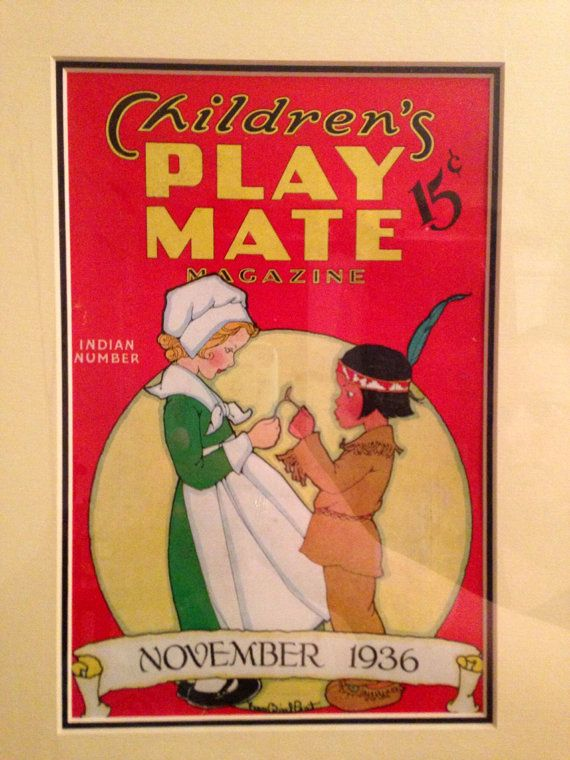 Antique Fern Bisel Peat Pilgrim & Indian Children's Play Mate Magazine Cover from 1936 Framed