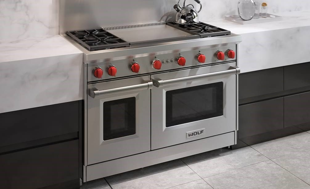 48 Gas Range 4 Burners And Infrared Dual Griddle Gas Range