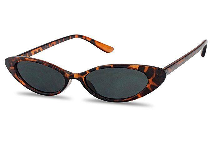 caad491edb Amazon.com  Mini Vintage Retro Extra Narrow Oval Round Skinny Cat Eye Sun  Glasses