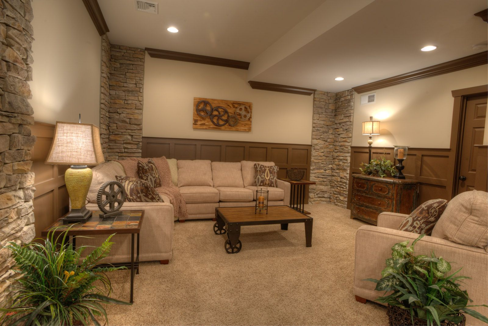 Finished Basement With Stone Accent Walls And Sable Wainscoting Ownalandmark Projectdreamhouse Finishing Basement Home House