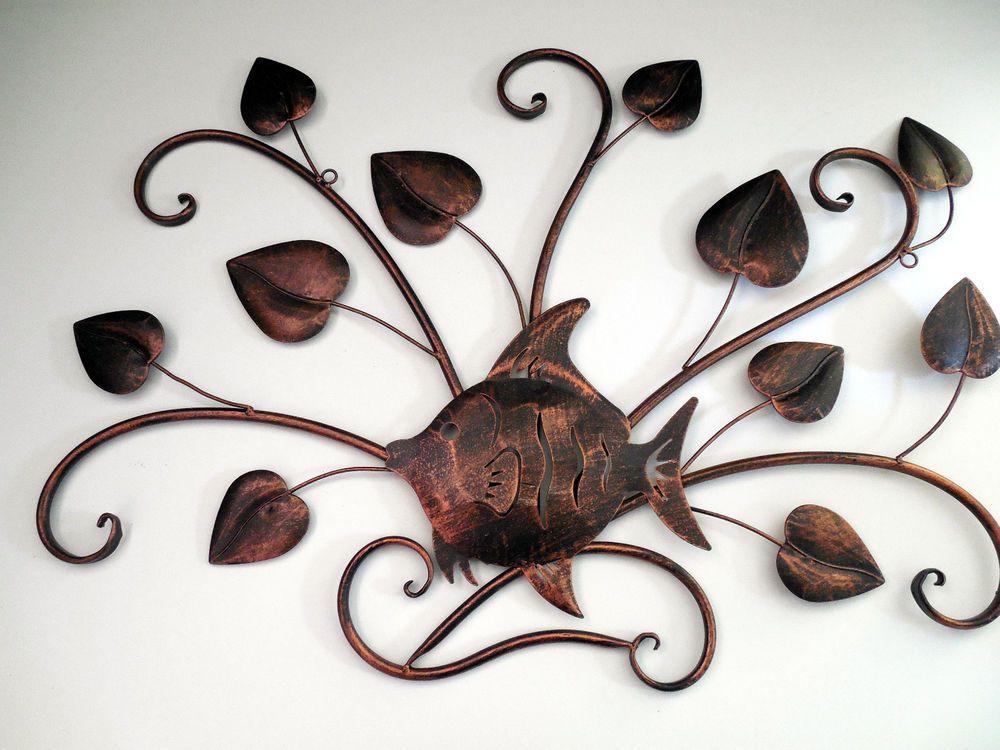 Metal wall sculpture art copper tone tropical fish among