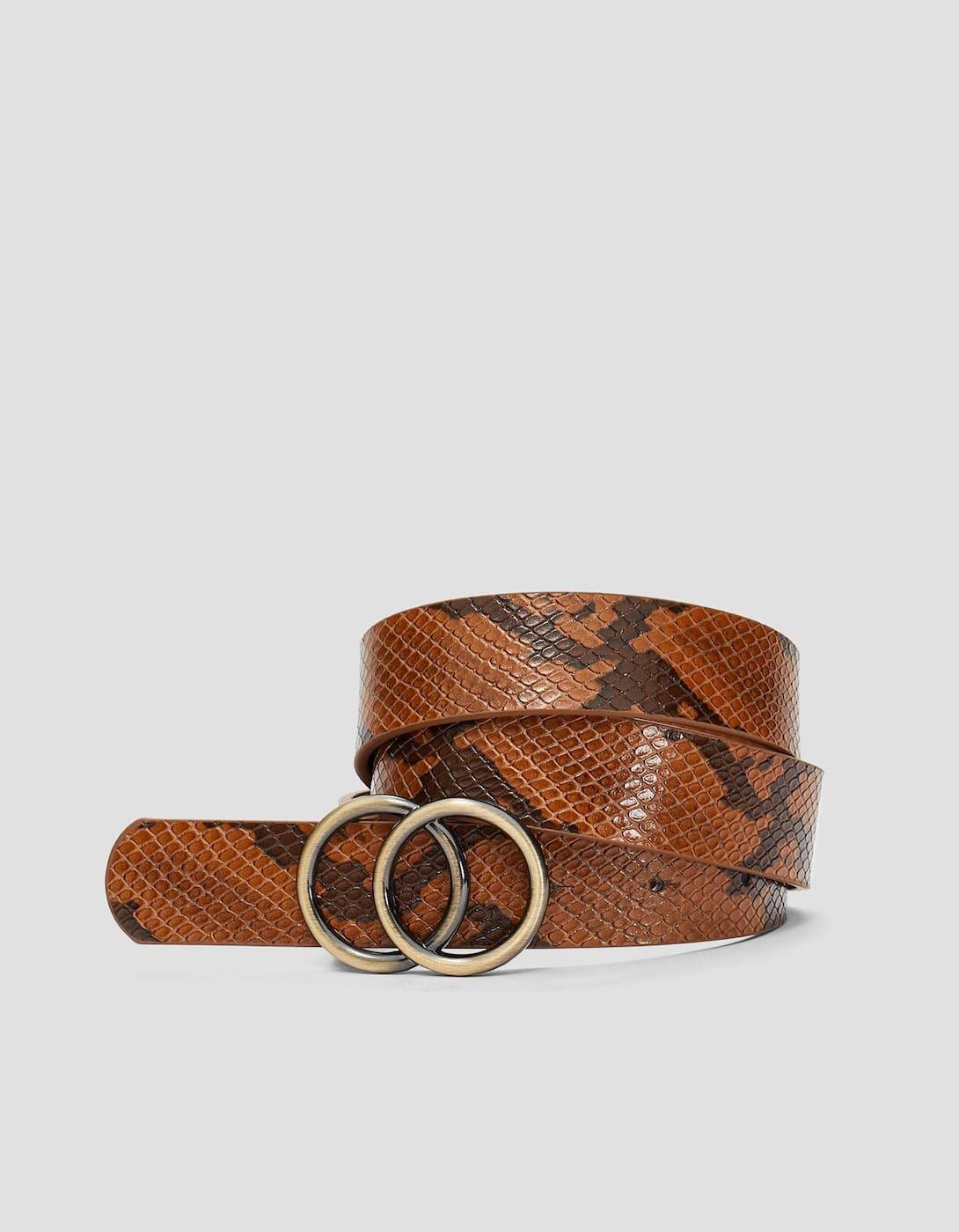 Cinturón hebilla cruzada snake - Cinturones de mujer  fb348fb16eed