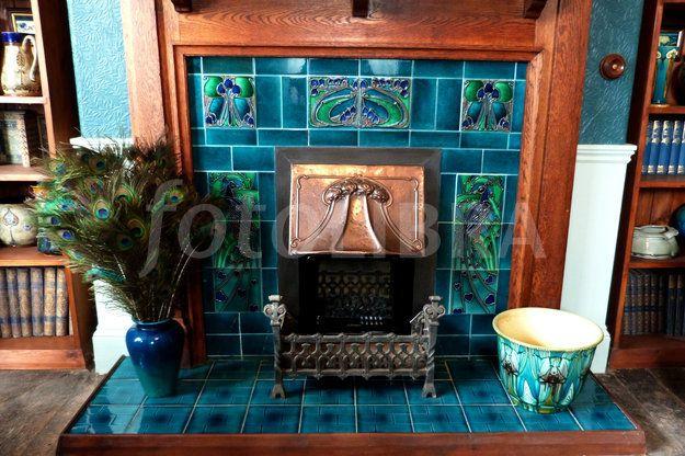 Art Nouveau peacock tiled fireplace | Fireplaces & | Pinterest
