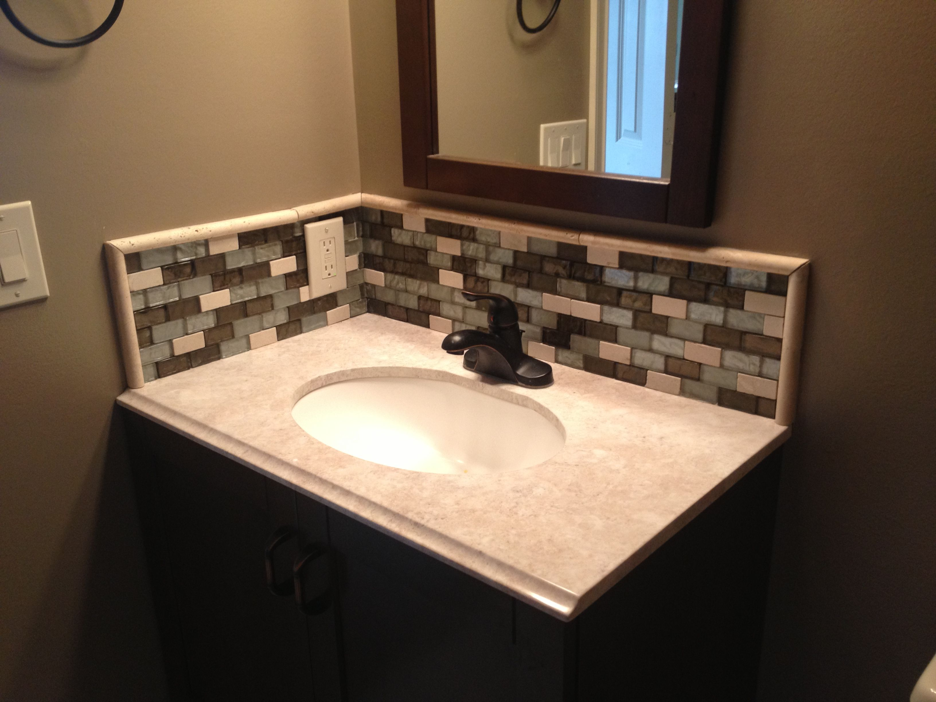 Splendid-design-glass-mosaic-bathroom-ideas-brown-gray- Bathroom Vanity Glass Tile Backsplash