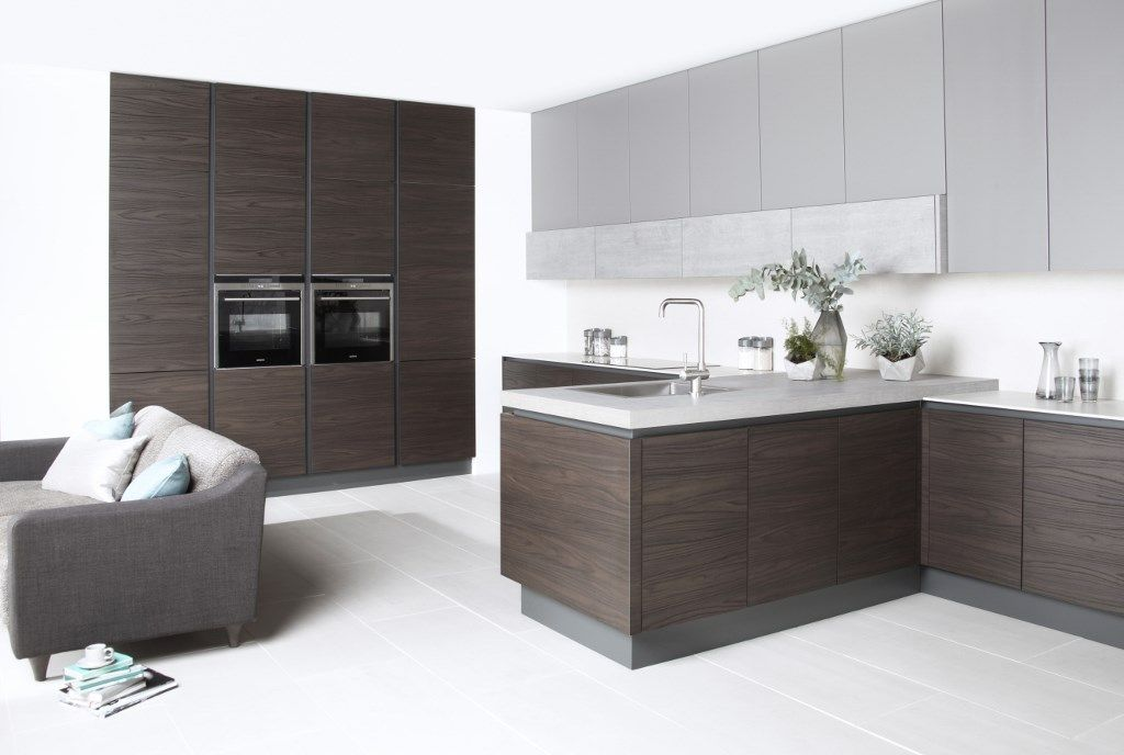 Burbidgeu0027s Otto Kitchen in Dark Walnut Painted Mink and Concrete - Cupboards Doors & Burbidgeu0027s Otto Kitchen in Dark Walnut Painted Mink and Concrete ...